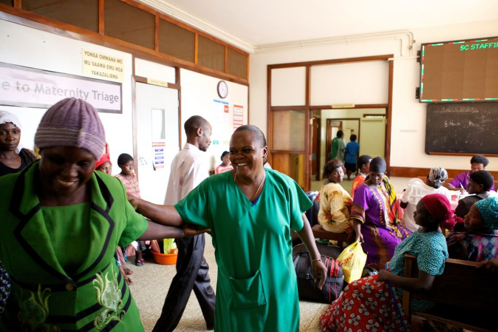 Sister Sulphine Twinomuhangi (right) works in one of the busiest maternity wards in the world. Whilst we were visiting there were 77 babies delivered in 24 hours.  Mulago hospital faces a lot of criticism, but actually what they are doing is remarkable and she does it all with a smile on her face.