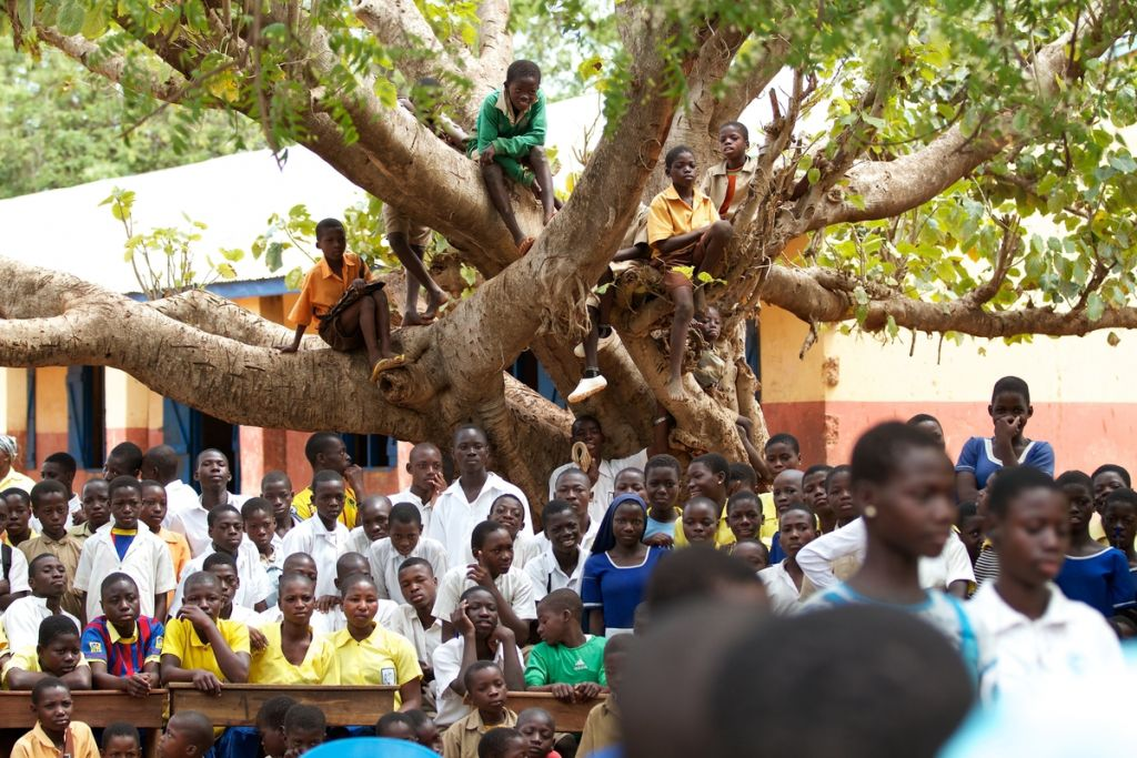 A crowd of school children watching a play under a tree, Ghana