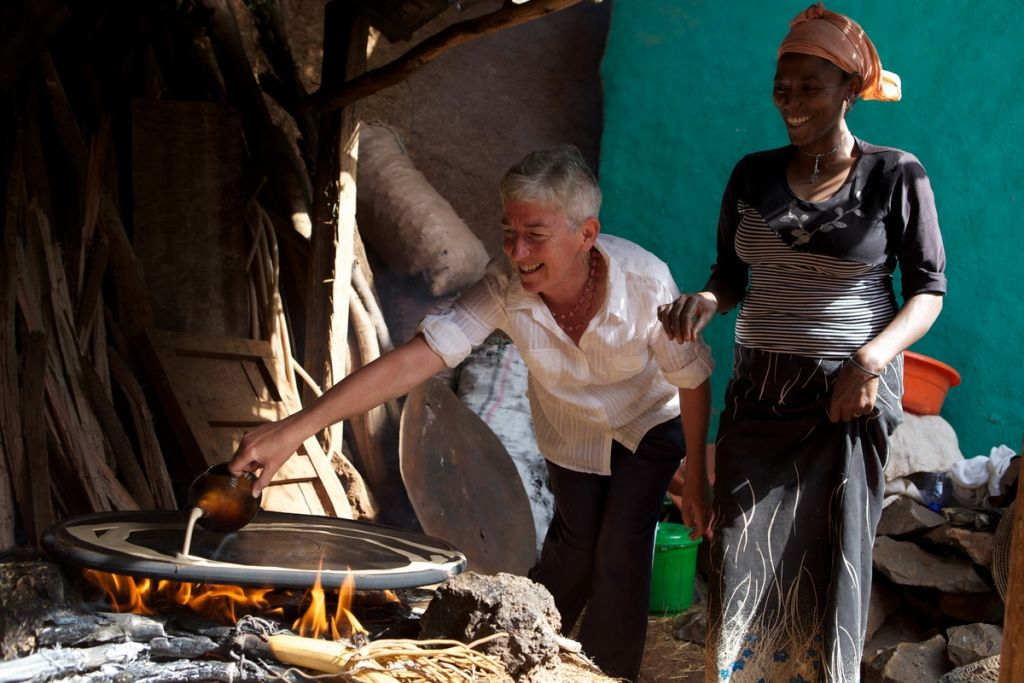 Making Injera on an open fire, Ethiopia