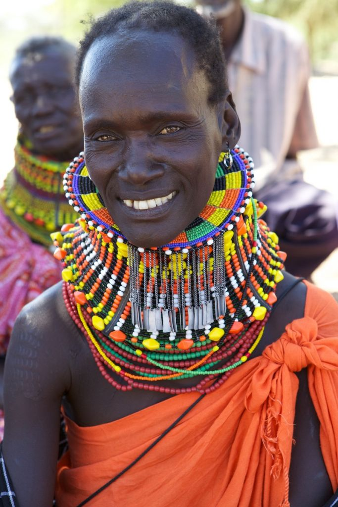 A Kenya lady with lots of beaded necklaces