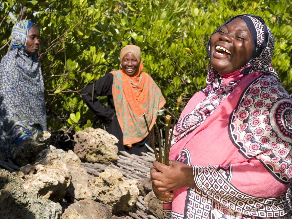 A lady laughing, Zanzibar, Africa