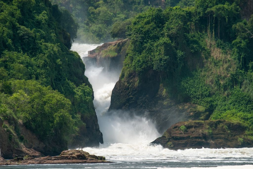 Water pouring through a waterfall on the river NIle in Uganda