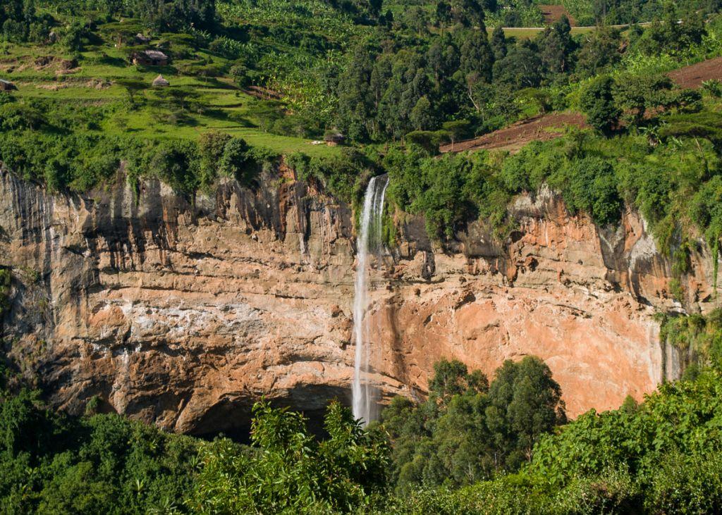 An aerial photo of a waterfall in Uganda.
