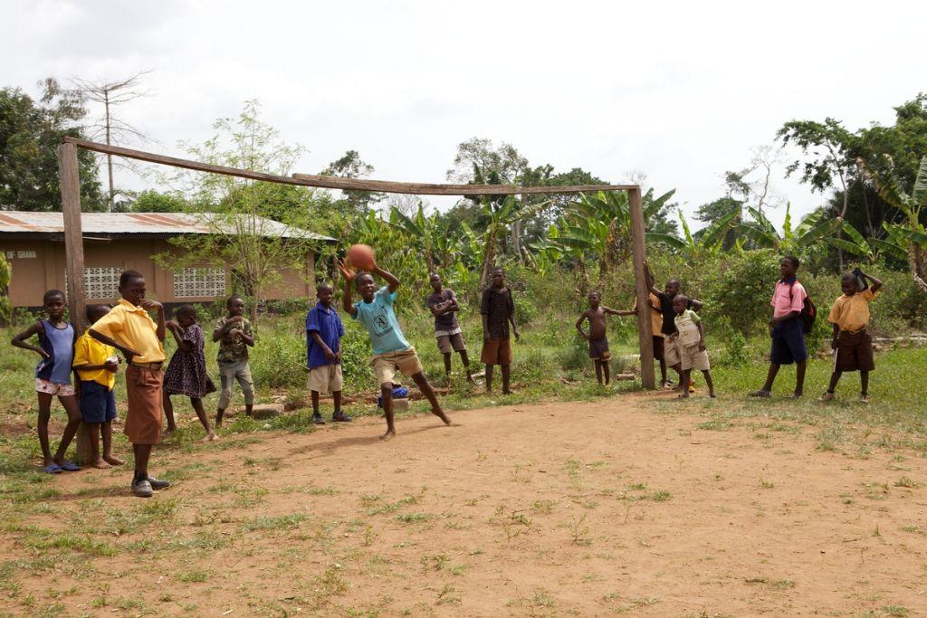 a shot at goal in Ghana