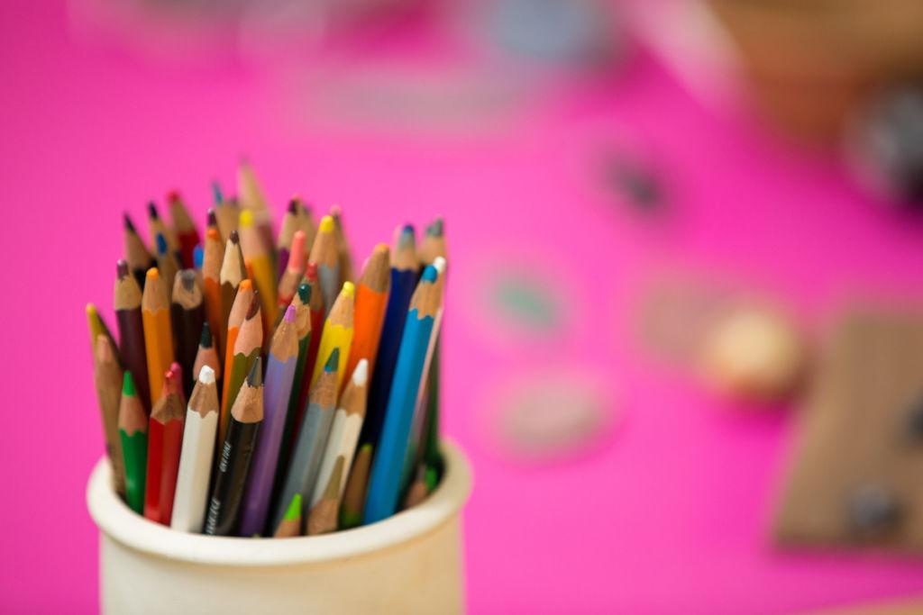 pot of coloured pencils