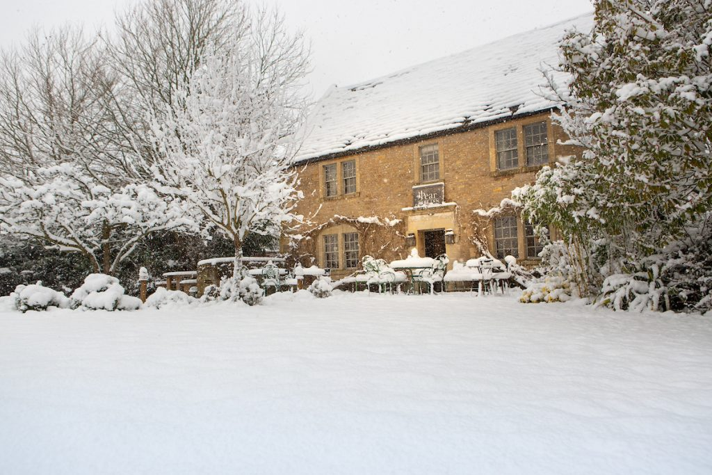 The Pear Tree pub in Wiltshire in frosty, winter conditions